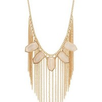 Gold Glitter Stone & Fringe Statement Necklace by Charlotte Russe