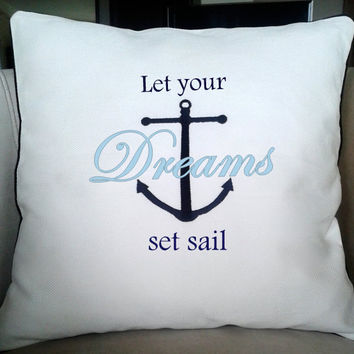 Nautical saying emboidered pillow cover-decorative pillow-embroidered pillow cover-  white cusion covers