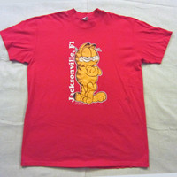 Vintage 1978 GARFIELD JACKSONVILLE FLORIDA Graphic Cartoon Cat Red Velva Sheen Large Cotton T-Shirt