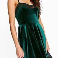 Dottie Velvet Strappy Skater Dress