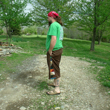 Patchwork Corduroy Shorts Brown Multi Colored Pants Hippie Handmade Festival Heady  Kynd Valley Mens 36