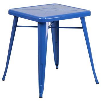 Tolix Style 24'' Square Blue Metal Indoor-Outdoor Table