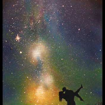 Kissing Couple Painting - Wall Art Night Sky - Space Art - Love -Spray Paint Art - Custom Paintings - Painting on Canvas - Spray Paint Art