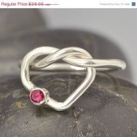 Fathers Day Sale Love Knot -  Gemstone Ring - Birthstone Ring - January Birthstone - January Jewelry - Red Gemstone -Garnet Jewelry