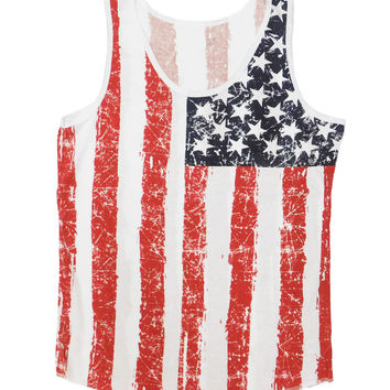 American Flag All Over Distressed Tank Top