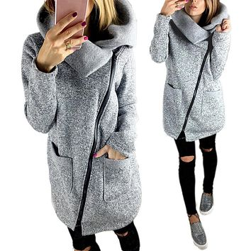 Women's Gray Asymmetrical Zipper Long Cowl Neck Warm Fleece Lined Jacket