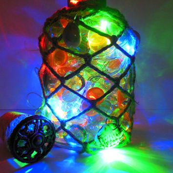 Lighted Beach Bottle - Lighted Rustic Decor - Battery Operated Lights