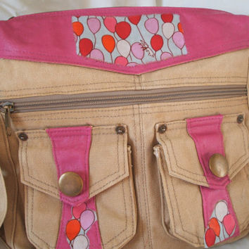 Upcycled bag, satchel, hot pink tote, canvas bag, balloons, recycled, designer fabric, rabbit, embellished, decoupage, eco bag