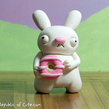 Cute Bunny Figurine with Pink Donut - Handmade Geekery - Weird Original Polymer Clay Sculpture - Offbeat Gift for Kids Teens and Adults