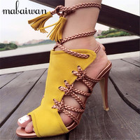 Fashion Yellow Rope Strappy Women Summer Sandals Lace Up High Heels Peep Toe Hollow Out Women Pumps Stilettos Zapatos Mujer