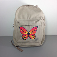 Canvas Backpack Hand Painted with a Butterfly