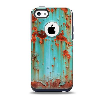 The Teal Painted Rustic Metal Skin for the iPhone 5c OtterBox Commuter Case