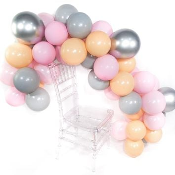 Blush Pink Gray Balloons 50 pcs Blush Pink Balloon Pack Peach and Gray Balloons for Party, Chrome Balloons Silver for Pink and Gray Wedding, Pink and Silver Bday Decor, Girls Baby Shower