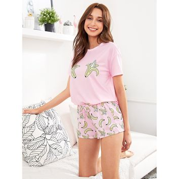 Banana Print Top And Shorts PJ Set