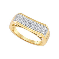 Diamond Micro Pave Mens Ring in 10k Gold 0.31 ctw