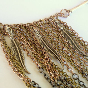 Mixed Metal Long Chain Bib Necklace