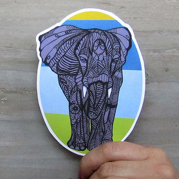 Tangle Elephant Vinyl Waterproof Decal