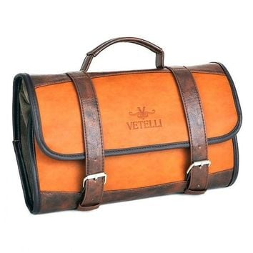 Luxury Leather Two-Tone Toiletry Bag