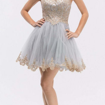 Silver Mesh Short Homecoming Dress with Appliqued Bodice and Hem