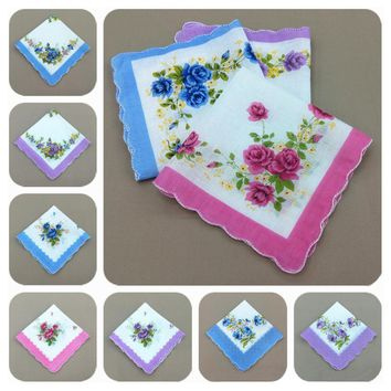 5Pcs Women Square Hanky Pocket Handkerchief Hankies Towel 100% Cotton Vintage Printed Floral 30cm*30cm Random Color