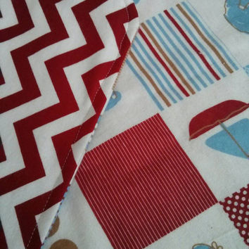 Blue and red receiving blanket