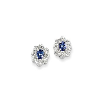 Sterling Silver Tanzanite & Diamond Earrings