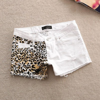 Womens Sexy Leopard Summers White Denim Shorts