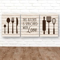 KITCHEN Wall Art, Kitchen CANVAS or Prints, Kitchen Quote Wall Decor, Kitchen Utensils Decor, Seasoned with Love Quote, Set of 3 Pictures