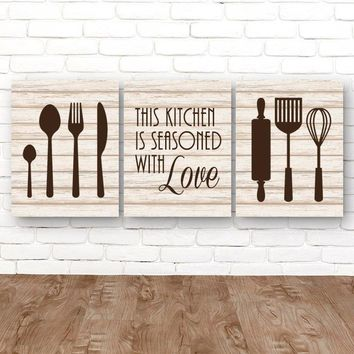 KITCHEN Wall Art, Kitchen CANVAS or Prints Kitchen Quote Wall Decor, Kitchen Utensils Decor, Seasoned with Love Quote, Set of 3 Pictures