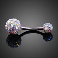 Elegant Shiny Zircon Dual Ball Belly Button Ring  (With Thanksgiving&Christmas Gift Box) = 5987791553