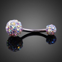 Elegant Shiny Zircon Dual Ball Belly Button Ring   = 4804842180
