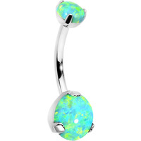 Double Green Synthetic Opal Internally Threaded Belly Ring 7/16""
