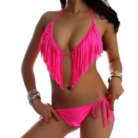 Skyey J Tassel Bikini Set Fringe Swimwear Top and Bottom Sexy Swimsuit, Pink, L