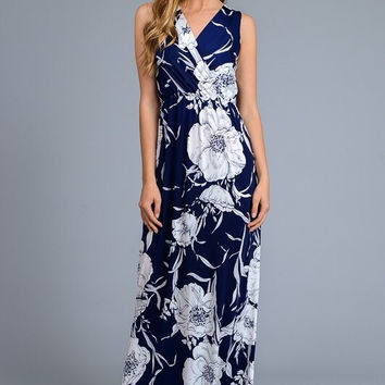 Floral Sleeveless Maxi Dress - Navy