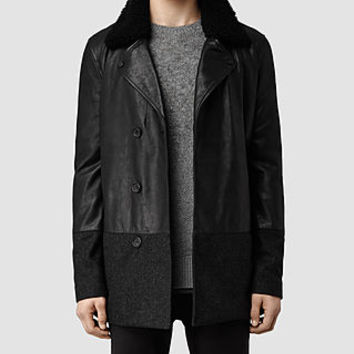 Mens Akira Leather Biker Jacket (Ink) | ALLSAINTS.com