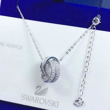 SWAROVSKI Women New Fashion Diamond Circle Pendant Necklace Silver