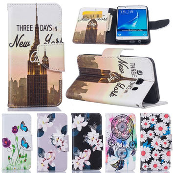 For Coque Samsung Galaxy J5 Flip Case Leather For Card Phone Cases For Sasmung Galaxy J5 2016 Wallet Case Dream Catcher Cover