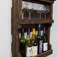 Pallet Wine Rack - Rustic Wood Wine Rack - Reclaimed Pallet Wine Rack - Wall Wine Rack - Wine Storage - Wood Wine Rack