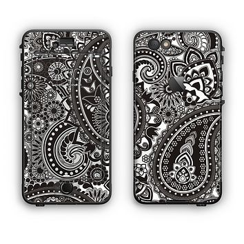 The Black & White Pasiley Pattern Apple iPhone 6 Plus LifeProof Nuud Case Skin Set