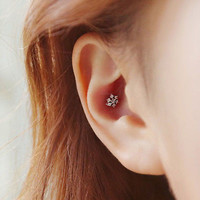 Korean Rhinestone Fashion Cute Women Snowflake Earrings Ear Stud Crystal