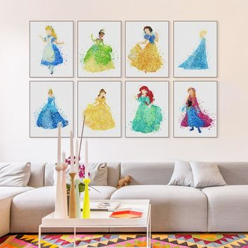 Watercolor Modern Princess Cinderella Snow Cartoon Pop Movie Canvas Poster Print Wall Art Girl Kids Room Decor Painting No Frame