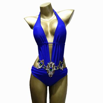 2019 Sexy One-Piece Suits Backless Deep v Neck Rhinestone Swimsuit Diamond Luxury Swimwear Women Crystal Bodysuit Bathing Suit