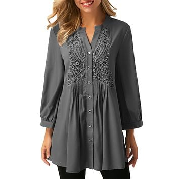 Gray Lace and Pleated Detail Button up Blouse