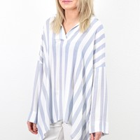 Collared Hi-Lo Striped V-neck Tunic {Blue}
