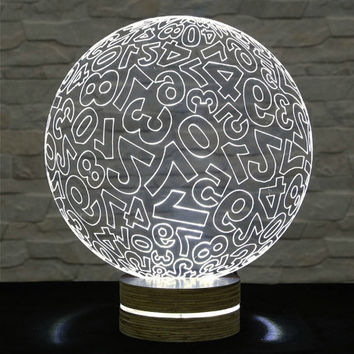 Numbered Sphere Shape, 3D LED Lamp, Office Decor, Desk Lamp, Home Decor, Plexiglass Lamp, Decorative Lamp, Nursery Light, Acrylic Lamp