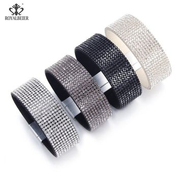 RoyalBeier New Fashion Leather Crystal Bracelet For Women Sparkling Rhinestone Inlaid Women Soft Wide Magnet Buckle Pulsera