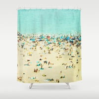 Coney Island Beach Shower Curtain by Mina Teslaru