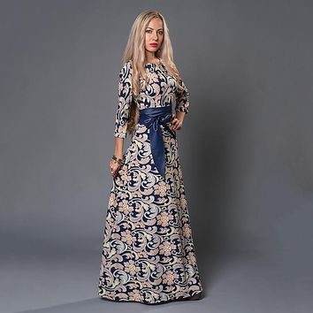 S.FLAVOR Brand Women long Dress hot sale 2018 Spring Summer Russian Style Print Dresses Long Floor-Length  Elegant vestidos