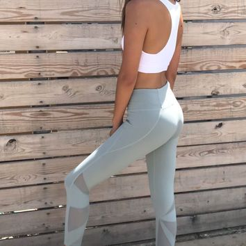 Mint Star Mesh Workout Leggings