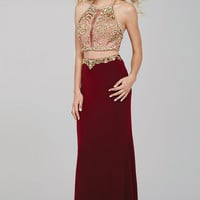 Burgundy Jersey Two-Piece Prom Dress 33493